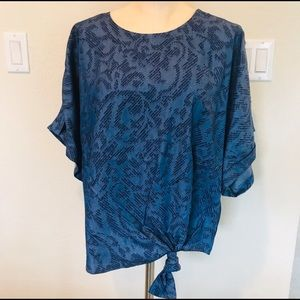 New Marc New York Blue Geo Tie Knot Blouse